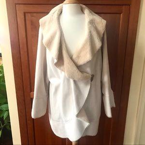 Unique Design Faux Suede/Shearling Fashion Coat